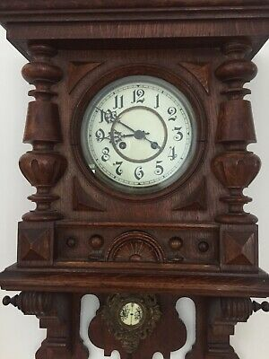 Genuine Antique Oak Wall Clock Profsnl Valuation 1905-1915 Excellent Condition