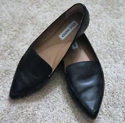 848d51b372e STEVE MADDEN FEATHER Women's Loafer Flat Shoes In Black Sz 10 ...