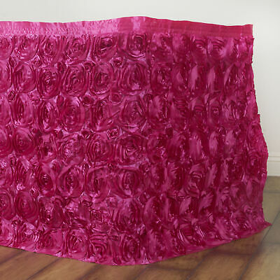 21' Fuchsia SATIN ROSES TABLE SKIRT Tradeshow Wedding Party Catering Supply