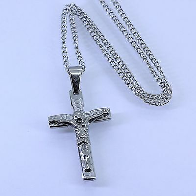 "Silver Titanium Stainless Steel Small Jesus Cross Pendant 24"" Necklace Box Chain"
