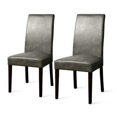 Hartford Bonded Leather Dining Chair,Set of 2, Quarry