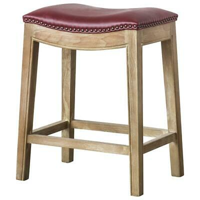 Elmo Bonded Leather Counter Stool, Vintage Red