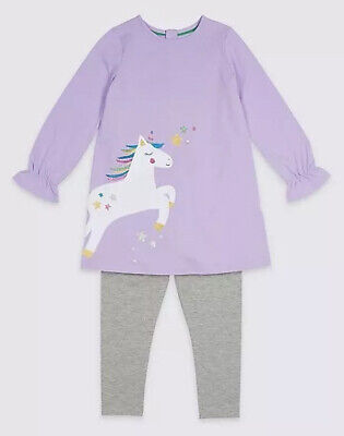 Girls Unicorn Jersey Outfit Lilac Grey Mix Ex M&S Age 3 6 9 Months RRP £12