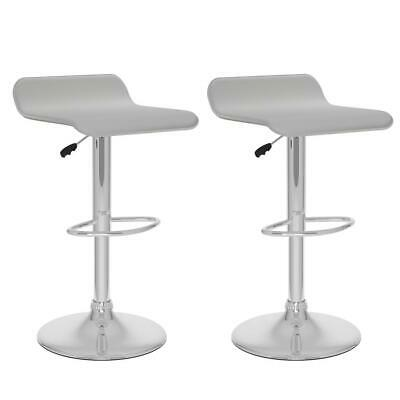 Curved Adjustable Bar Stool in White Leatherette, set of 2