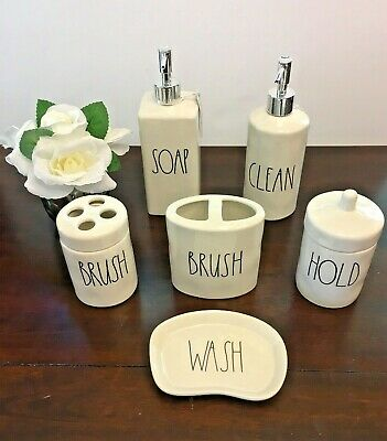 "Rae Dunn Wash Hold Clean Soap Brush Ceramic Bath Items  ""You Choose"" New Htf"