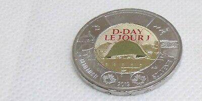 2019 Uncirculated Canada Anniversary of D Day Colored Toonie direct from Roll