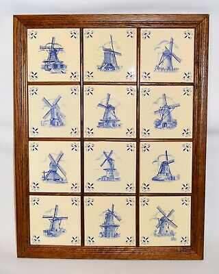 """12 Vintage Dutch Delft Windmill Tiles, Handcrafted Holland (28"""" x 21""""Wood Frame)"""