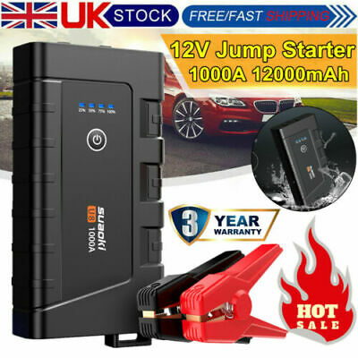 12000mAh 800A Car Jump Starter Rescue Pack Booster Battery Charger Power Bank A+