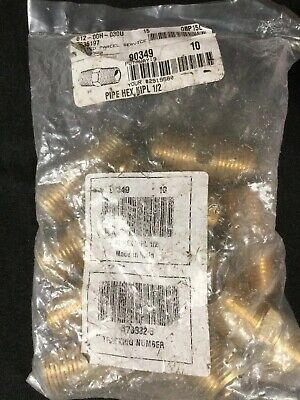 Imperial 90349 Lead-Free Brass Pipe Hex Nipple 10 Pcs