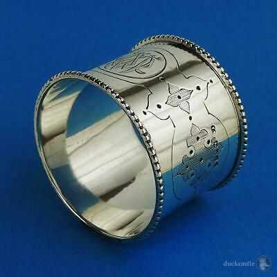 Superb Large VICTORIAN STERLING SILVER NAPKIN RING London 1877 Thomas Smily