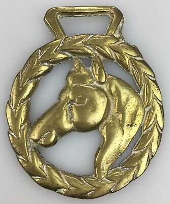 Vintage Horse BRIDLE CHARM Medallion SOLID BRASS Decoration Saddle Riding Wreath