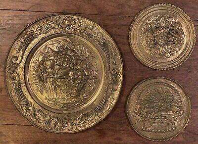 Set Of 3 Vintage Embossed Brass Wall Plates Made In England, Fruit Basket Motif