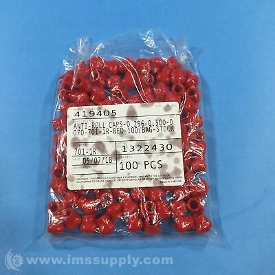 "StockCap 419405 0.296"" x 0.500"" Red Anti-Roll Cap FNFP"