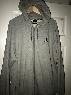 d18ecfe0 AIR JORDAN JUMPMAN Zip Up Through Hoody Size Small Grey Black 845861 ...