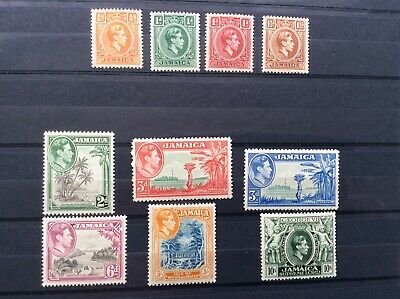 Jamaica 1938-52 Part set (10stamps) To 10/-.MH