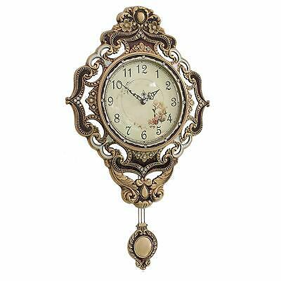 Silent Wall Clock with Swinging Pendulum Non-Chiming Large Metal Retro Vintage