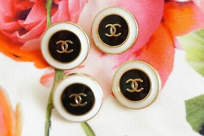 100% CHANEL BUTTONS SET OF 4 CC LOGO 24  mm GOLD TONED METAL WHITE BLACK ENAMEL