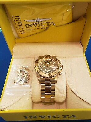 Men's Invicta Pro Diver 18k GOLD Plated SS Chronograph Champagne Dial 1774