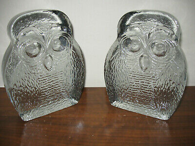 Beautiful Vintage Pair Of BLENKO Heavy Clear Glass OWL Bookends