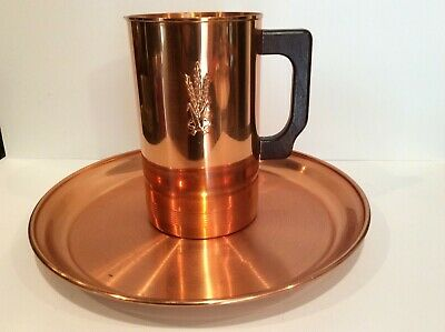 VINTAGE West Bend Aluminum Solid Copper Pitcher AND Serving Tray TWO PC SET