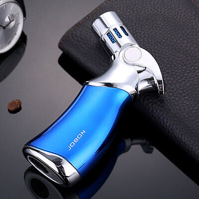 Jobon Refillable Butane Quad 4 Flame Cigar Cigarette Jet Torch Gas Lighter Blue