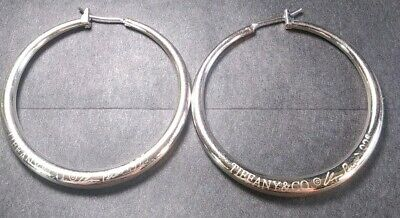 c0b51e828 VTG STERLING SILVER TIFFANY & CO Hoop Earrings 925 19.4 grams solid ...