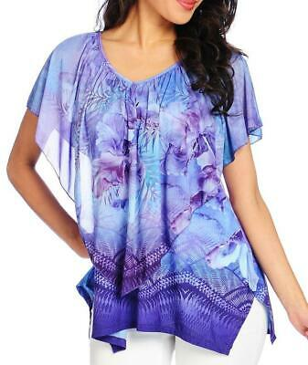 NEW - One World Printed Knit Crocheted Back Mesh Overlay 4-Point Hem Top