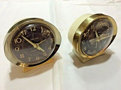 2 Vintage 1970 Westclox Baby Ben Style 8 luminous ivory/brass alarm clocks!!!USA
