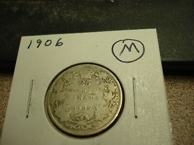 1906 - Canada 25 cent coin - silver Canadian quarter
