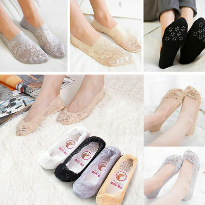 3Pairs Women Invisible No Show Nonslip Lace Boat Liner Low Cut Cotton Socks
