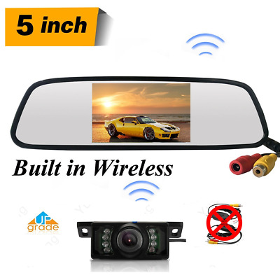 5''Car Wireless System Mirror Monitor+Nightvision Rear View License Plate Camera