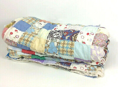 Cutter Quilt 82x88 Hand Sewn Feedsack Fabric Patchwork Blocks Squares HOLES Vtg