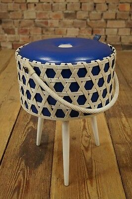 1970s mid Century Sewing Table Utensilo Basket Rockabilly 70s