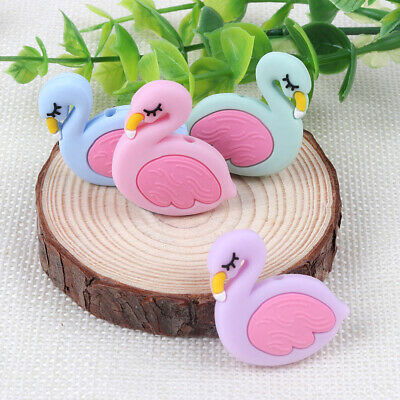 3PC Bird Flamingo Baby Teether Silicone Bead for Pacifier Chain Teething Toy