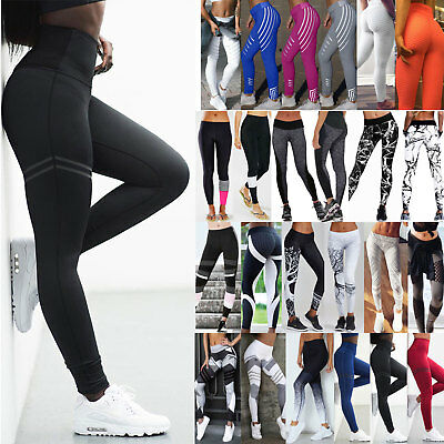 Women's Yoga Pants Ladies Fitness Leggings Gym Exercise Sports Trousers Bottoms