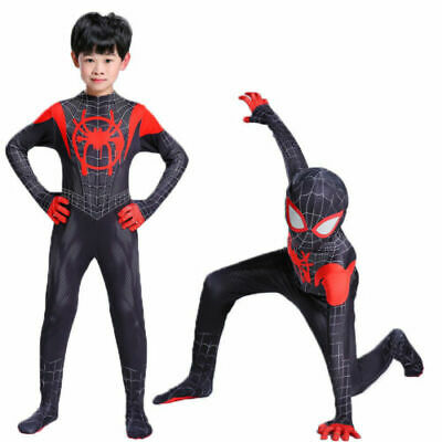 Spider Man Into Spider Verse Costume Kids Miles Morales Cosplay Suit Outfits UK