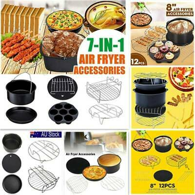 5/6/7/8x BBQ Baking Pan Rack Tray Barrel Accessories for 5/6/7/8'' Air Fryer HOT