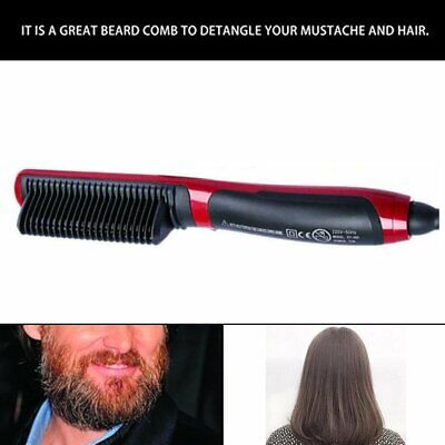 Multifunctional Men Quick Beard Straightener Hair Comb Curling Curler Show BO