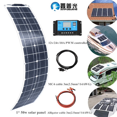 50w ETFE flexible Solar Panel system for Camping Car RV Boat 12V Battery Charger
