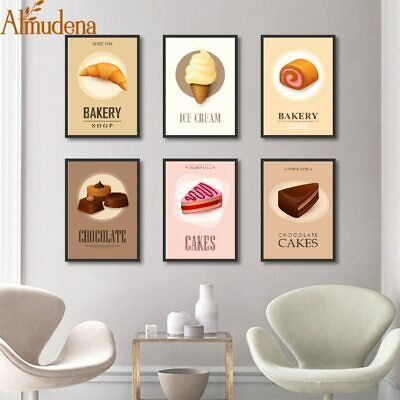 Almudena® Tea Shop Western Restaurant Ice Cream Unframed Painting Living Room