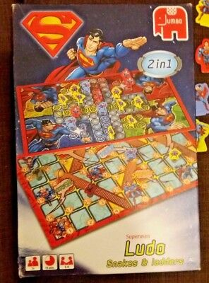 Superman Ludo And Snakes & Ladders - Dc Comics Jumbo 2 In 1 - Complete -