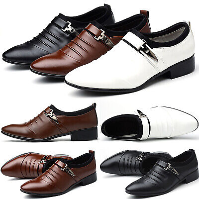 Men Leather Shoes Casual Pointed Toe Loafers Wedding Formal Dress Work Shoe Size