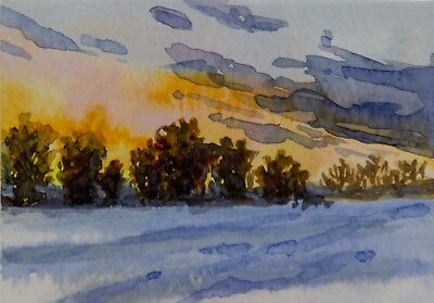 ACEO Original watercolor, winter, snow, trees, sky, clouds, sunset, landscape