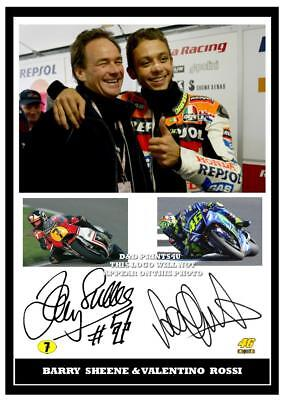 057.. Barry Sheene & Valentino Rossi Superbikes  Moto Gp Signed  Print Size A4