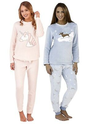 Womens Fleece Pyjamas Luxury Twosie Unicorn Dachshund Warm Lounge Set Xmas Gift