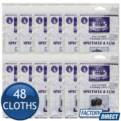 12 x ASHLEY-MILL SPECTACLE & LENS CLEANER IMPREGNATED CLEANING CLOTHS FABRIC PK4