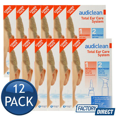 12 x AUDICLEAN TOTAL EAR CARE SYSTEM CLEANSING WASH SOLUTION COMBO PACK BULK
