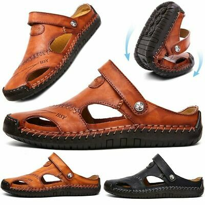 Mens Hand Stitching Walking Closed Toe Leather Sandals Casual Round Toe Slippers