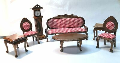 Victorian Living Room Set for DollHouse -- 7 pieces