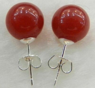 New 10mm Jewelry Red ruby Jade Stud Round Beads Earrings